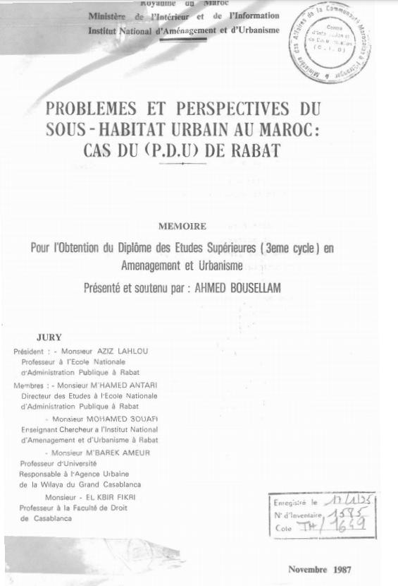PROBLEMES ET PERSPECTIVES