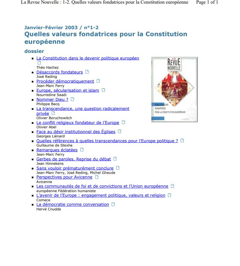 Quelles valeurs fondatrices pour la Constitution européenne