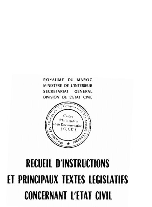 RECUEIL DINSTRUCTIONS ET PRINCIPAUX