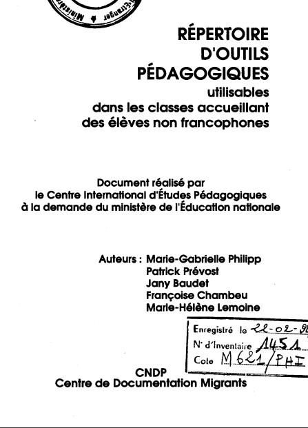 REPERTOIRE D'OUTILS PEDAGOGIQUES