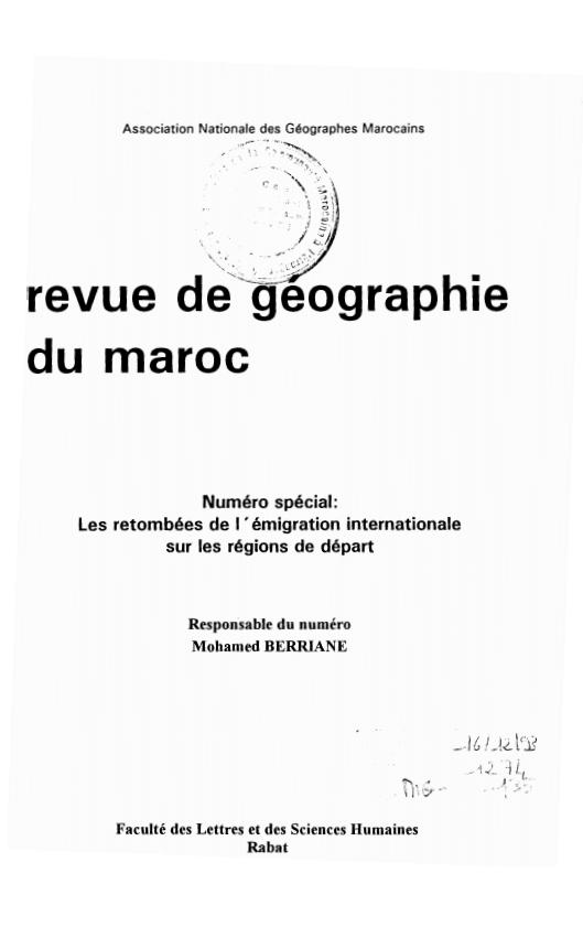 REVUE DE GEOGRAPHIE DU MAROC