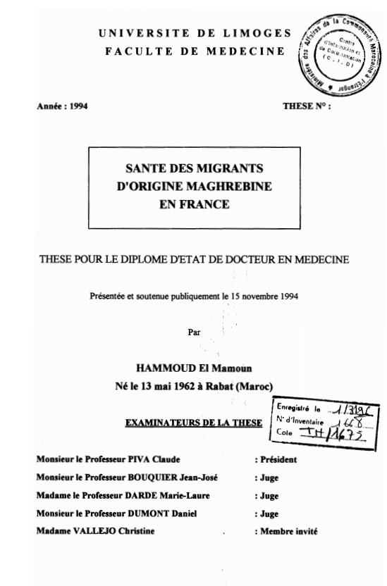 SANTE DES MIGRANTS