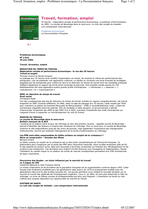 Travail formation emploi 35 heures