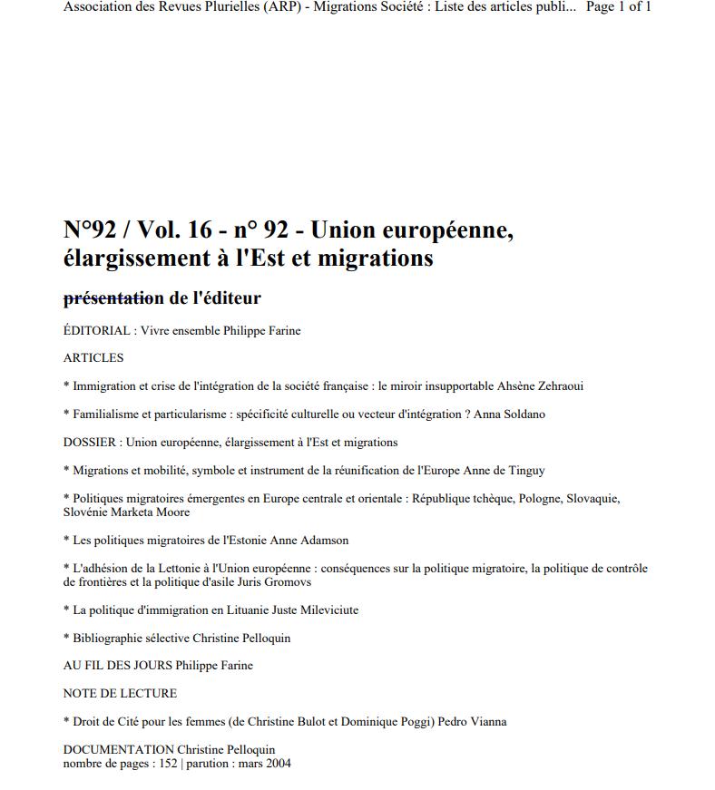Union européenne élargissement à l'Est et migrations