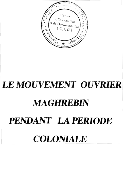 mouvement ouvrier maghrebin periode coloniale